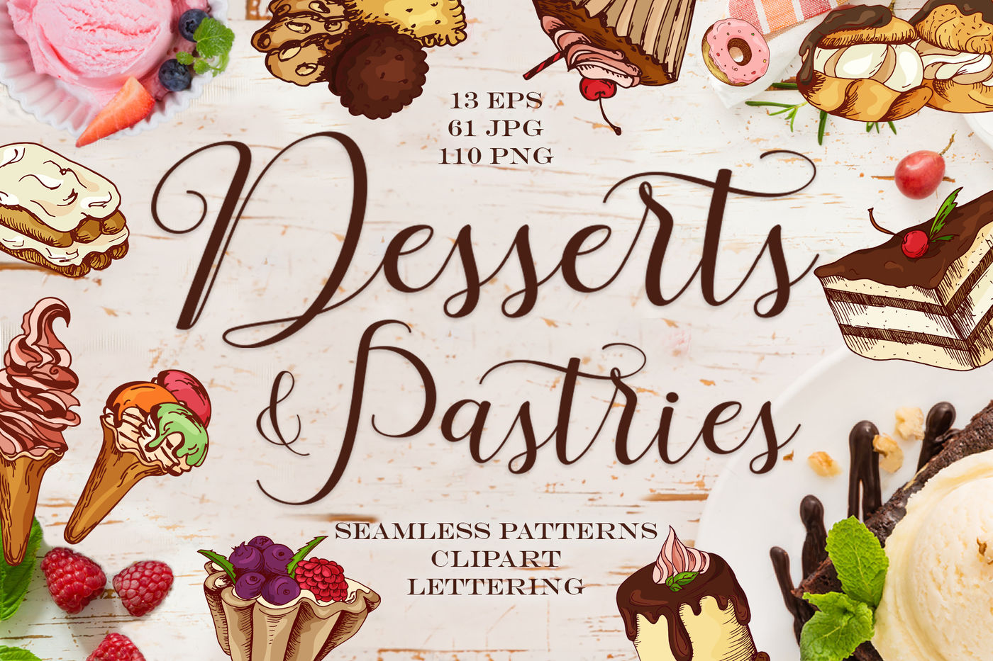 Desserts Pastries Clipart Lettering By Astartejulia