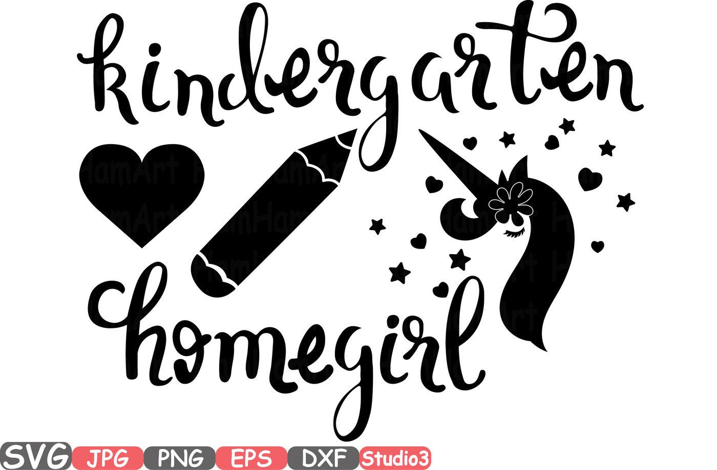 Flower Unicorn Kindergarten Silhouette Svg Cutting Files Digital