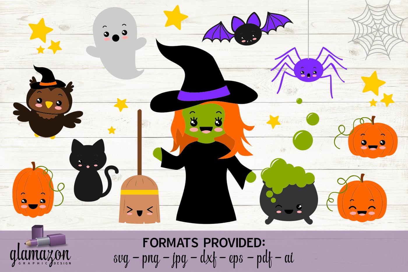 Kawaii Halloween Bundle Svg Dxf Eps Png Pdf Jpg Ai Cutting File By Glamazon Graphics Thehungryjpeg Com