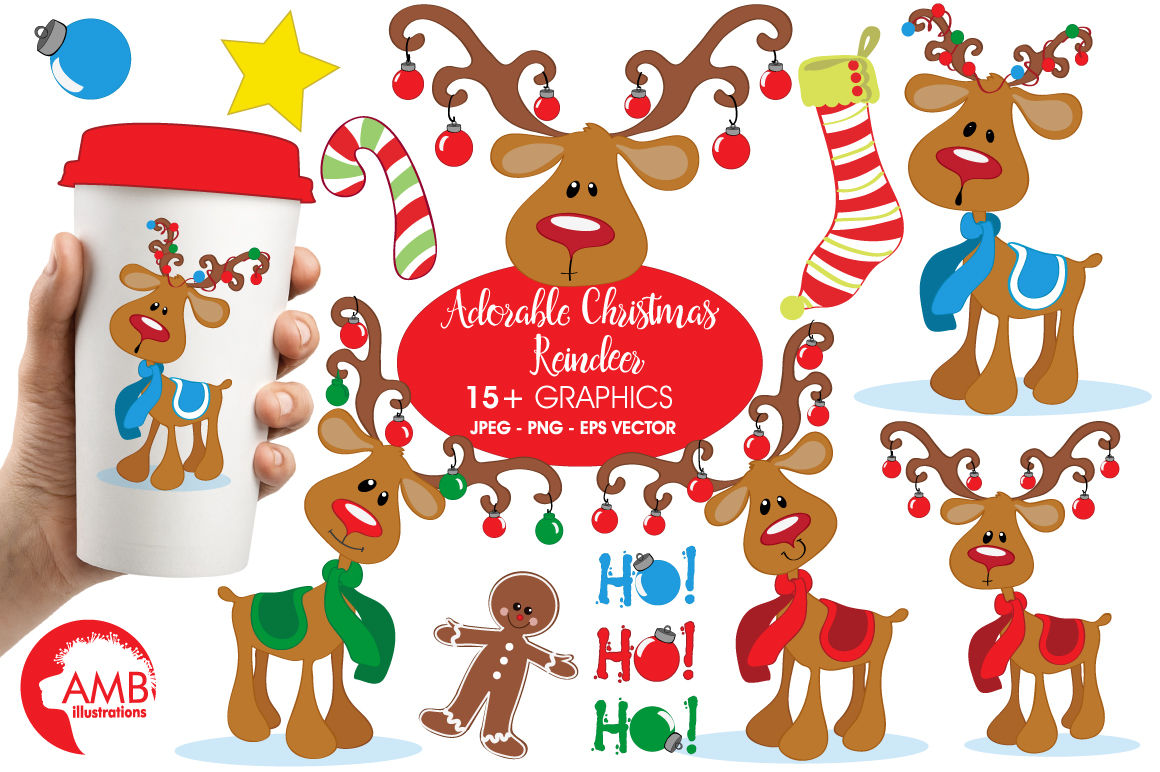 Christmas Reindeer Clipart Graphics Illustrations Amb 500 By