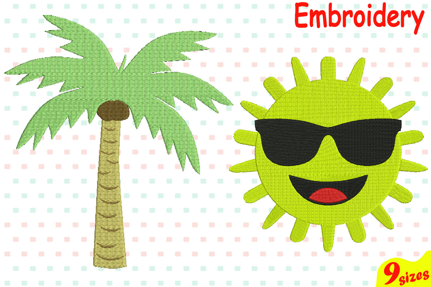Summer Sun Palm Tree Designs For Embroidery Machine Instant