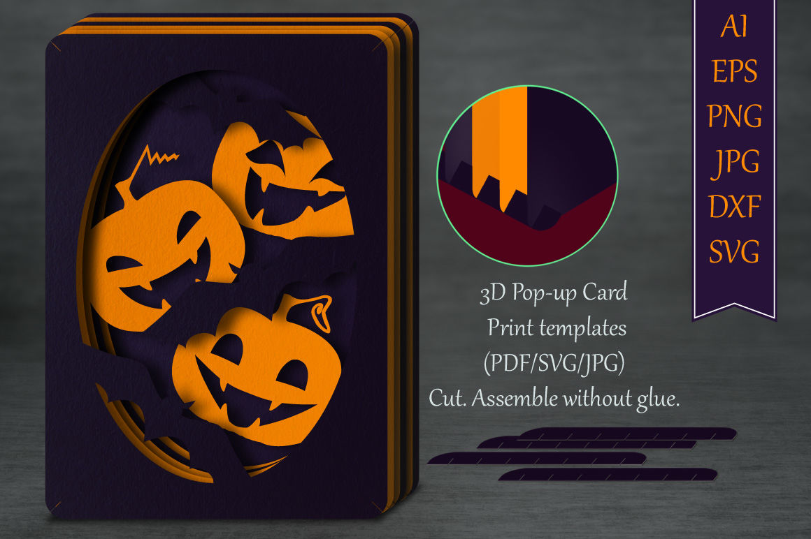 Halloween Pop Up Cards Templates.Tunnel Card Funny Halloween Multiple Machine Formats By