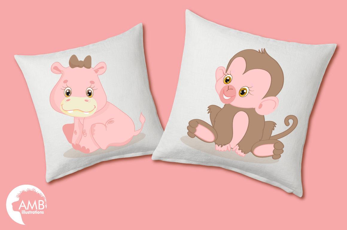 Pink Safari Baby Animals clipart, graphics, illustrations ...