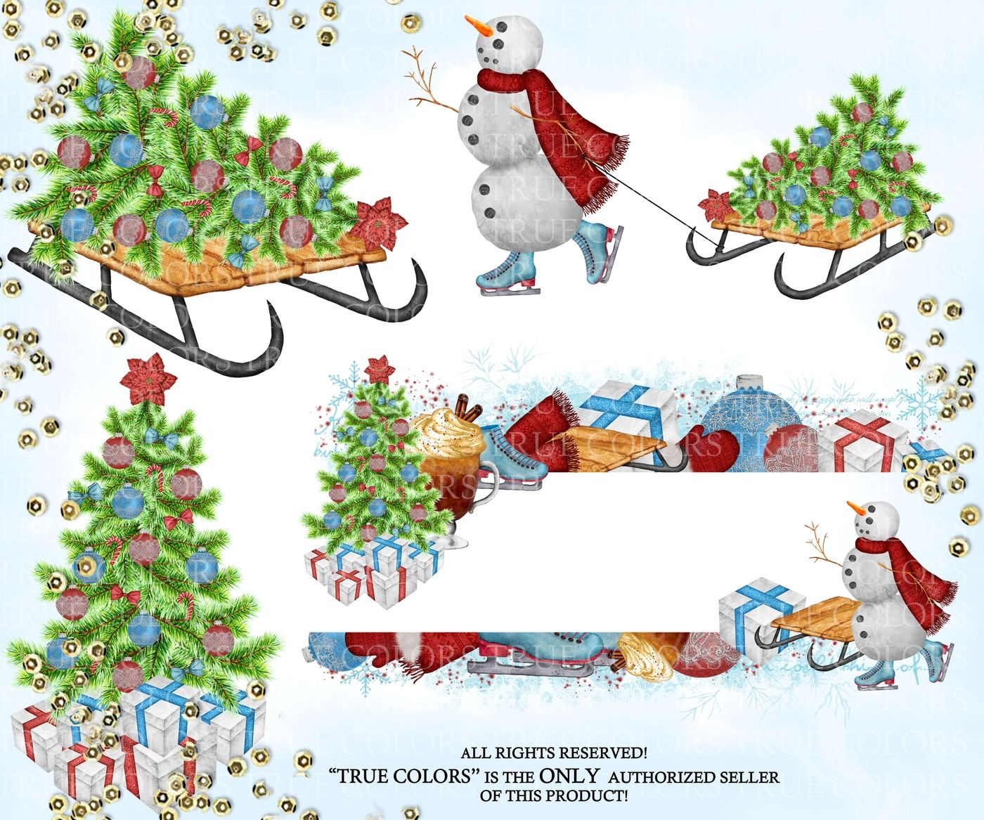Winter Clip Art Watercolor Hand Painted Clip Art Red Green Blue