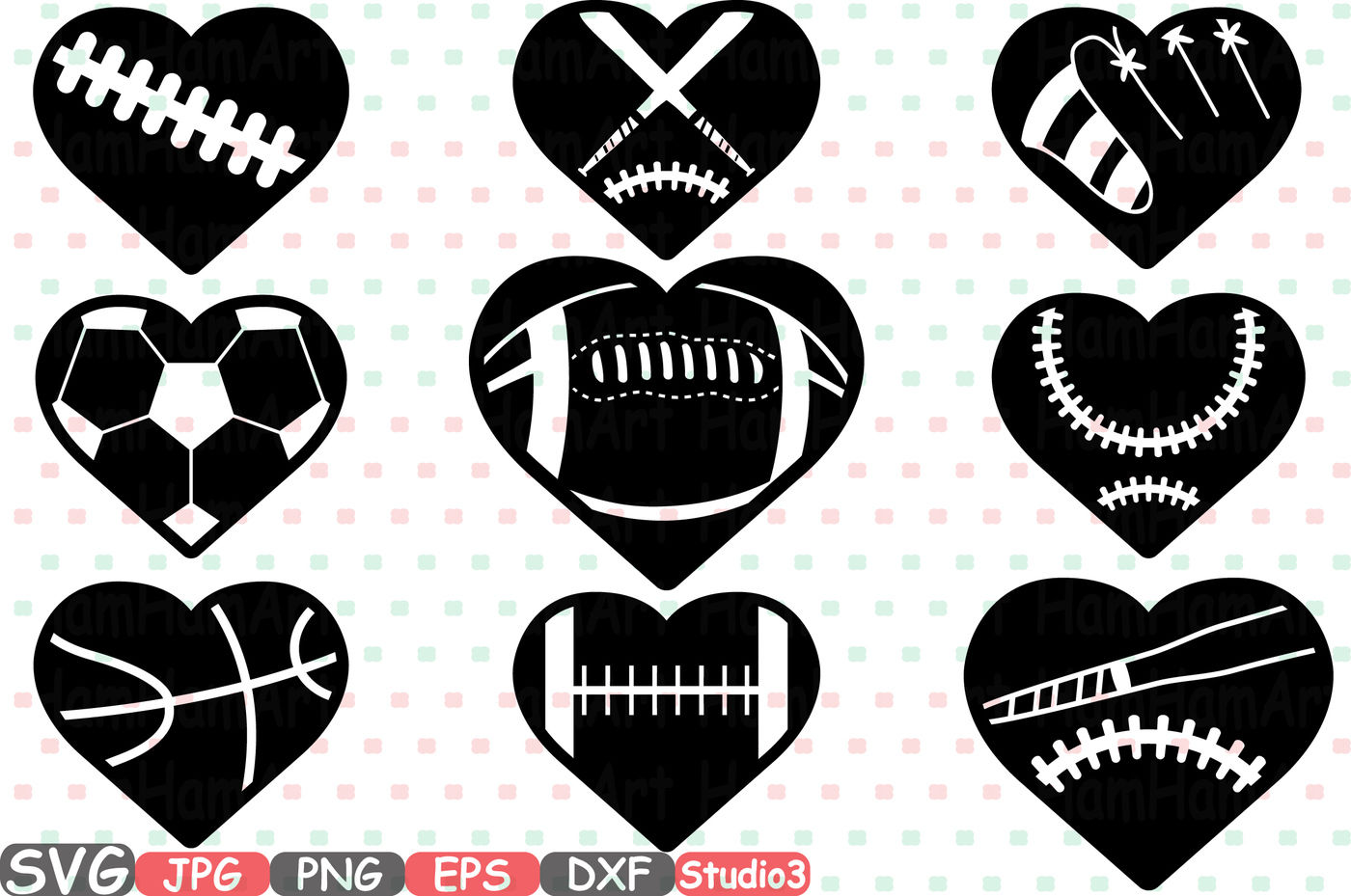 Sports Heart Balls Silhouette Svg Cutting Files Digital Clip Art Graphic Studio3 Cricut Cuttable Die Cut Machines Love Ball Baseball Soccer Basketball Football Valentines 700s By Hamhamart Thehungryjpeg Com