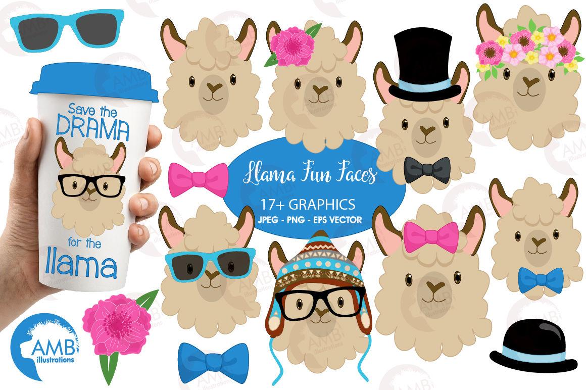 Llama Funny Faces Clipart Graphics Illustrations Amb 1986