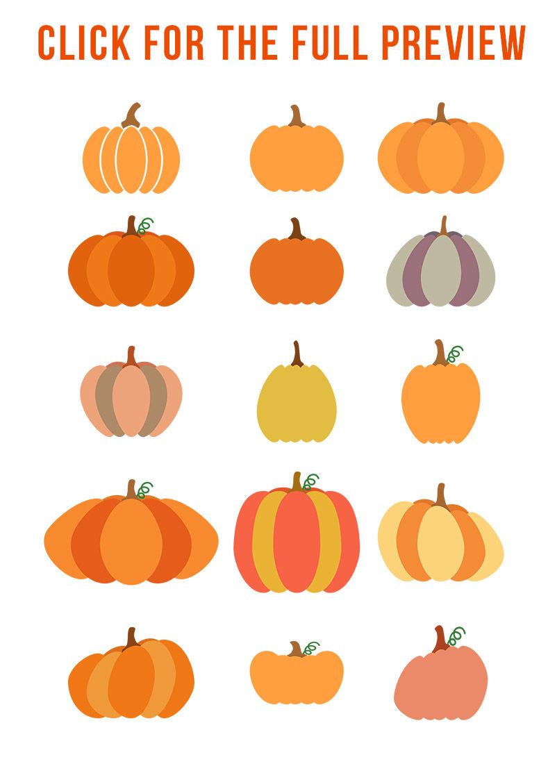 15 Pumpkins Clipart, Pumpkin SVG, Fall Clipart, Halloween ...