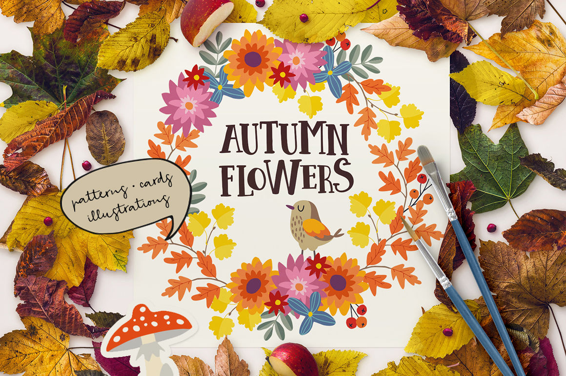 Autumn Flowers Graphic Collection By Tabita S Shop Thehungryjpeg Com