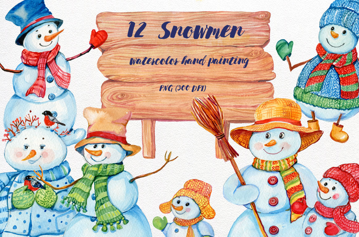 Snowmen Watercolor Illustration By Clipart Shop Thehungryjpeg Com