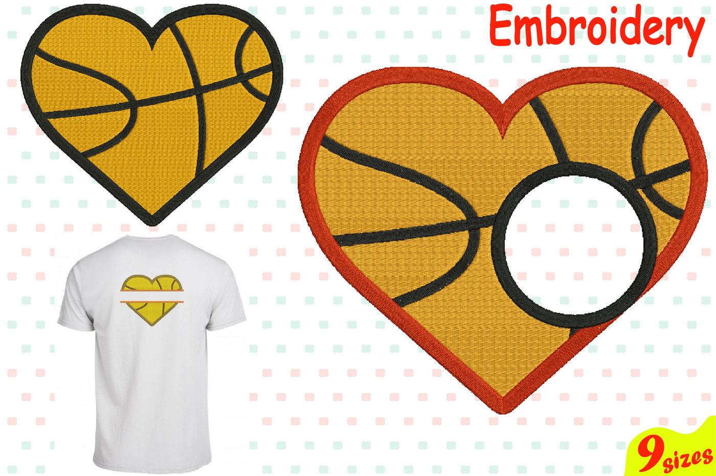 Baschetball Sports Heart Balls Designs For Embroidery Machine