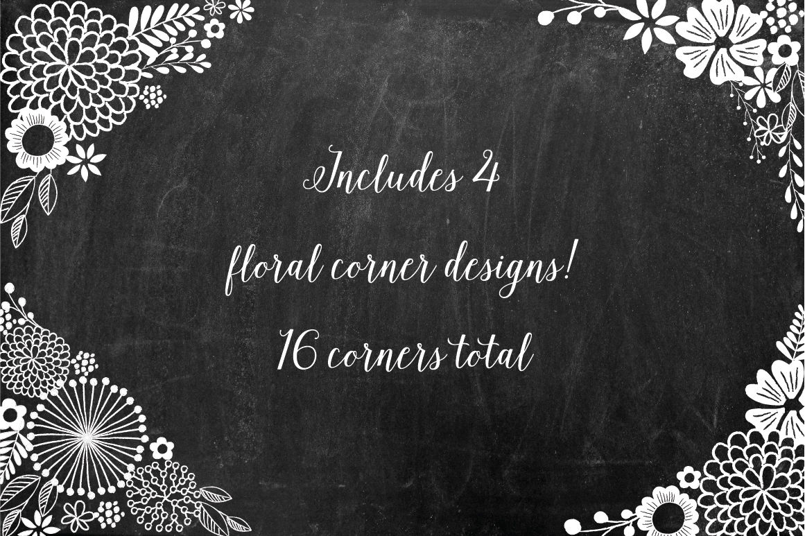 Chalkboard Floral Design Kit Ai Png By Birdiy Design