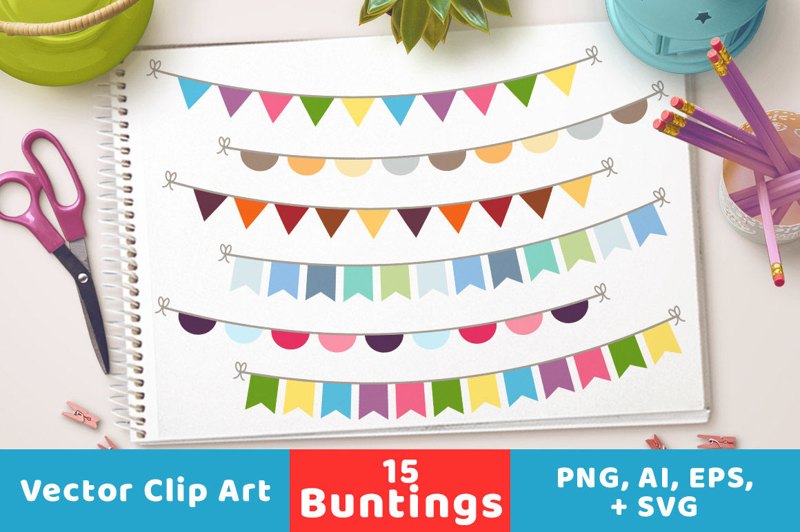 15 Buntings Clipart Bunting Banner Clipart Bunting Svg Bunting