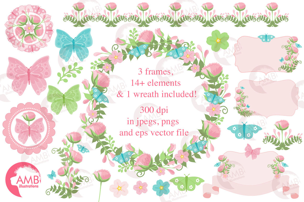 Country Garden Florals clipart, graphics, illustrations ...