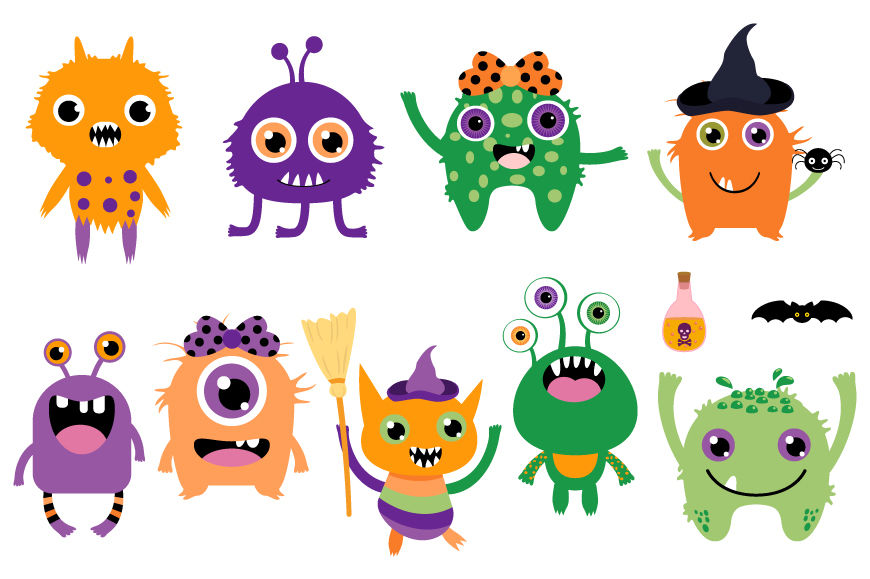 Cute Halloween monsters clip art set, Silly ugly aliens ...
