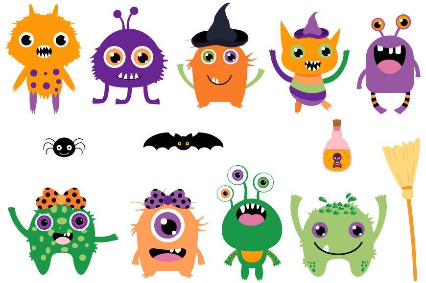 Cute Halloween Monsters Clip Art Set Silly Ugly Aliens Clipart By Pravokrugulnik Thehungryjpeg Com