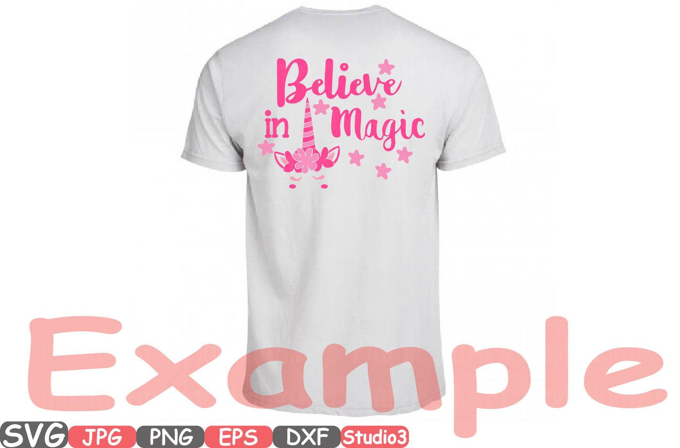 Believe In Magic Flower Unicorn Silhouette Svg Cutting Files