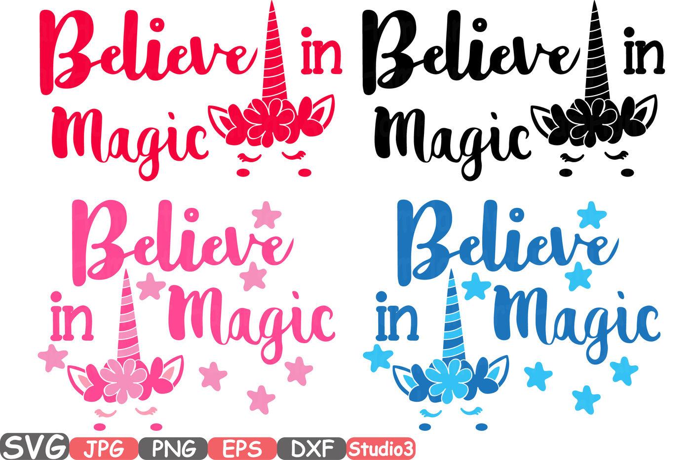 Believe In Magic Flower Unicorn Silhouette Svg Cutting Files Digital Clip Art Graphic Studio3 Cricut Cuttable Die Cut Machines 55sv By Hamhamart Thehungryjpeg Com