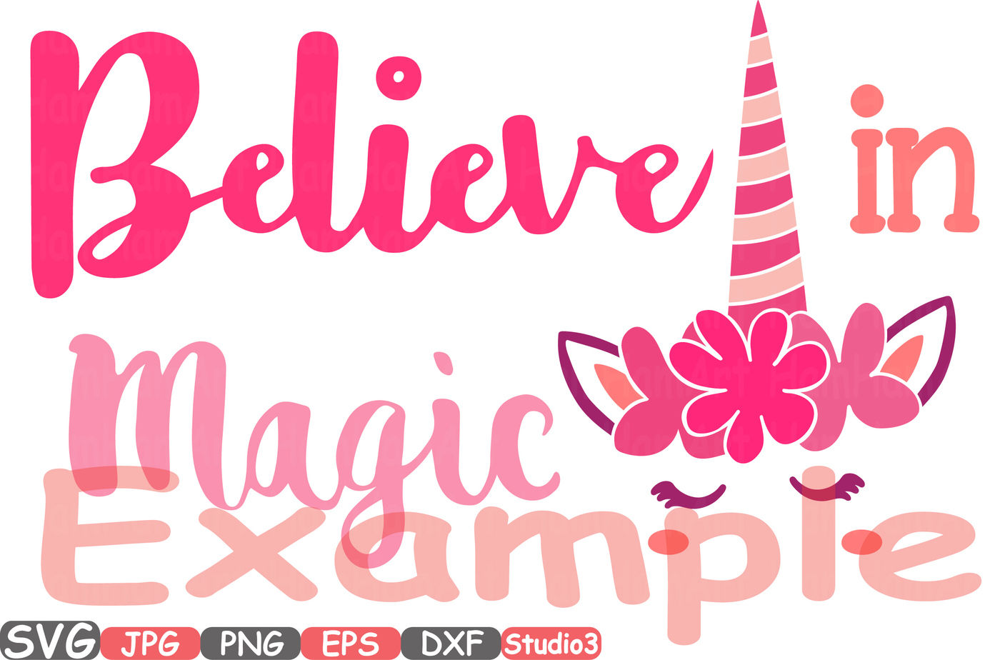 Believe in Magic Flower Unicorn Silhouette SVG Cutting Files