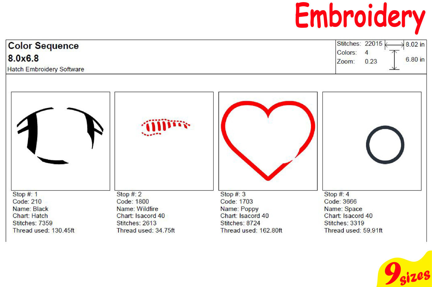 Football Sports Heart Balls Designs for Embroidery Machine