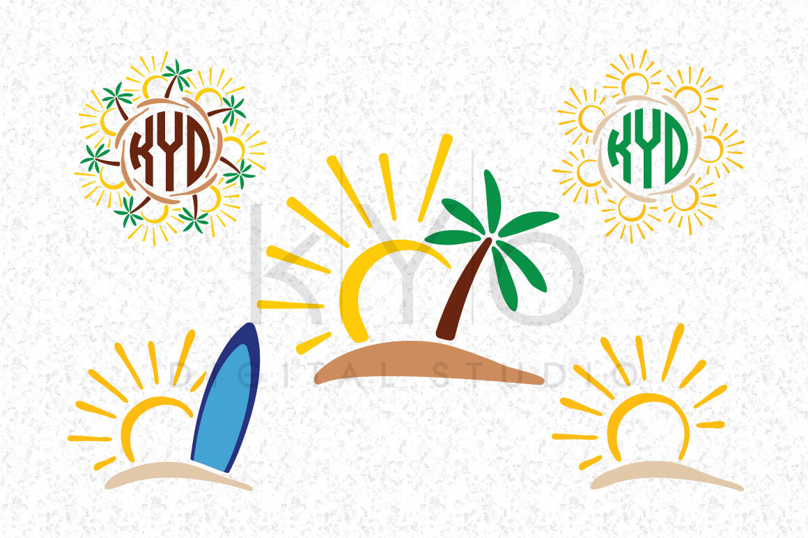 Sun Tropical Island Surf Palm Tree Summer Monogram Svg Dxf Png Eps