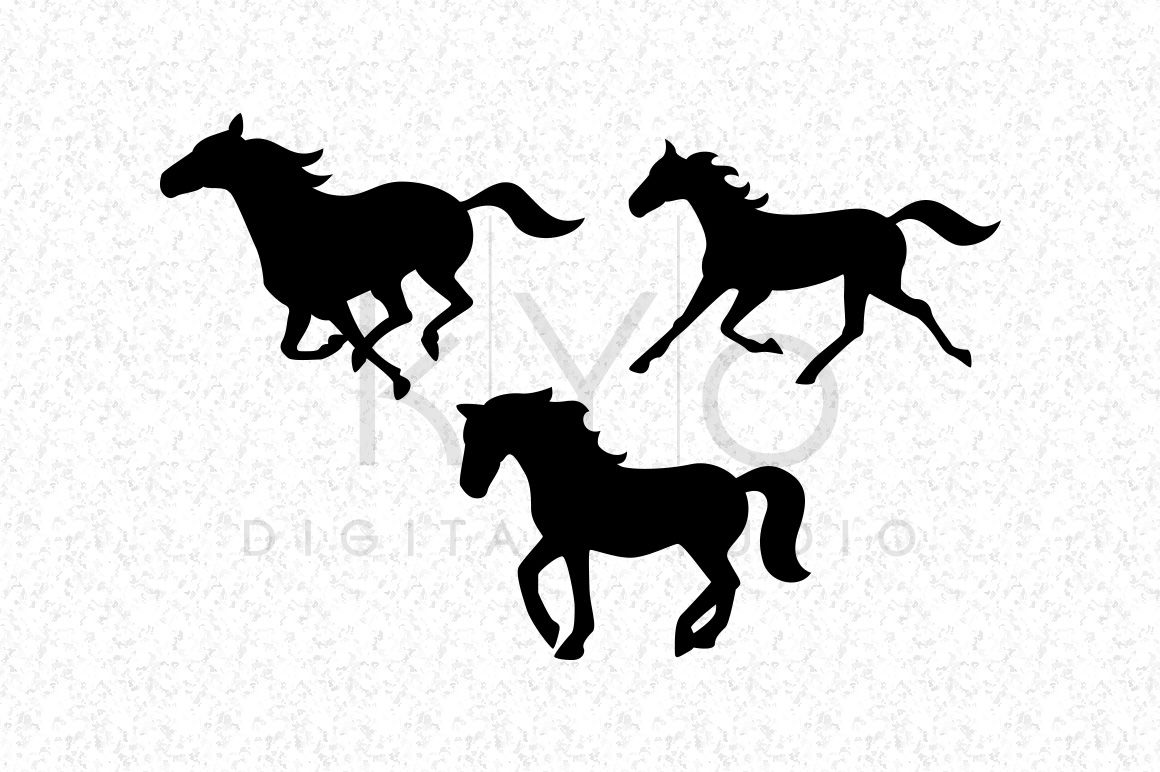 Running Horse Mustang Silhouettes Equestrian Svg Dxf Png Eps Files