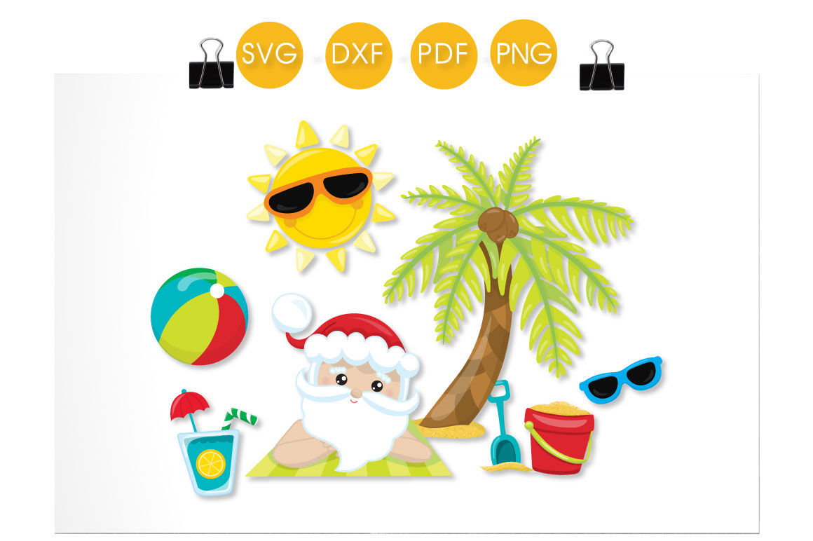 Beach Santa Svg Png Eps Dxf Cut File By Prettycuttables