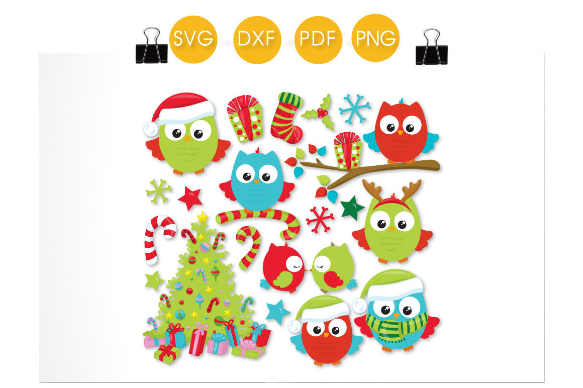 Christmas Tree Owls Svg Png Eps Dxf Cut File By Prettycuttables Thehungryjpeg Com