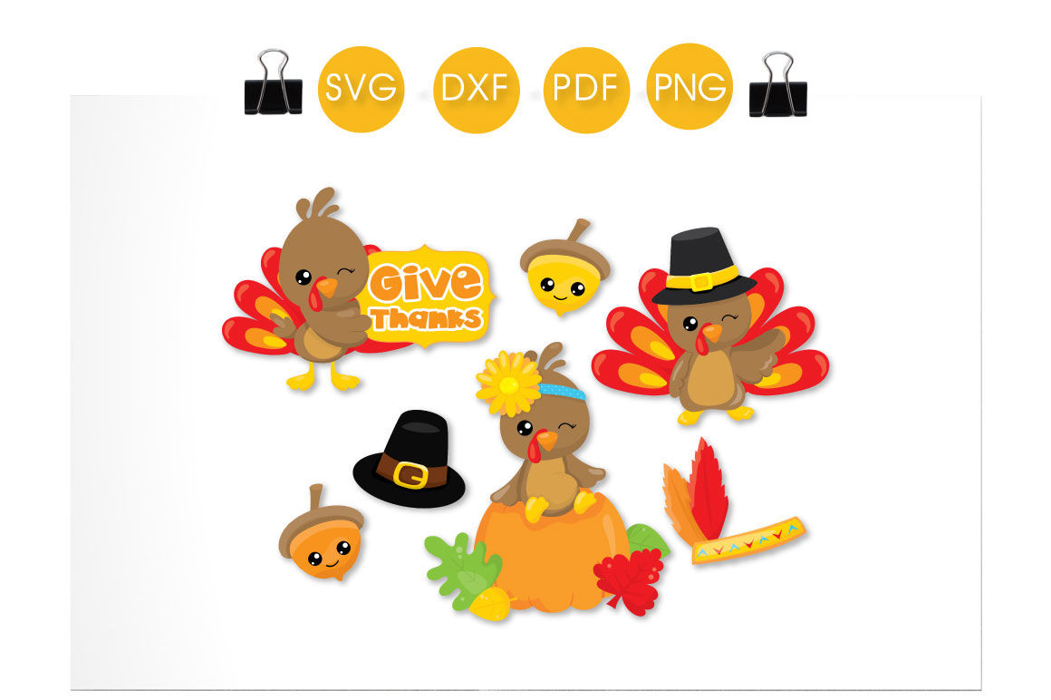 Give Thanks Turkeys Svg Png Eps Dxf Cut File By Prettycuttables Thehungryjpeg Com