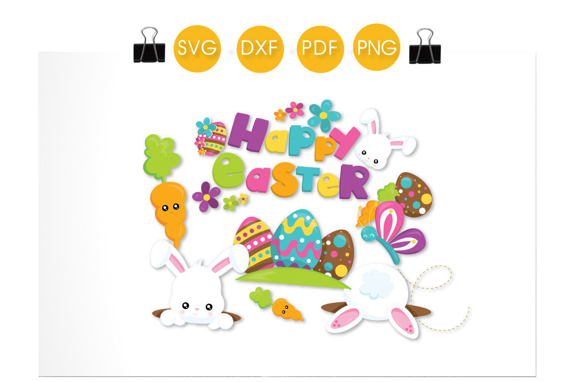 Happy Easter Bunny Svg Png Eps Dxf Cut File By Prettycuttables Thehungryjpeg Com