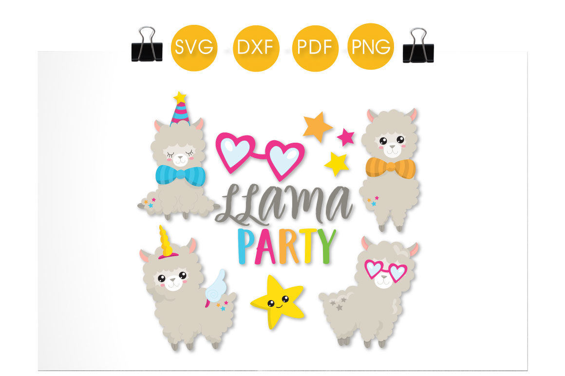 Llama Party Svg Png Eps Dxf Cut File By Prettycuttables