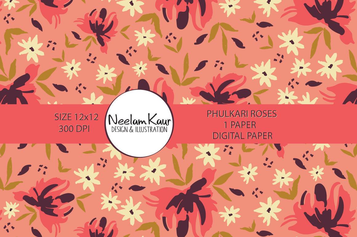 Phulkari Roses Digital Pattern By Neelam Kaur Thehungryjpeg Com