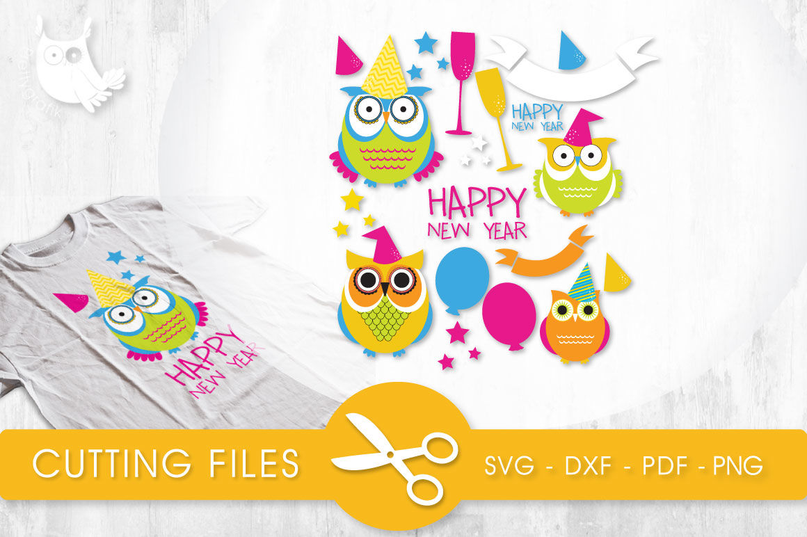 New Year Owls Svg Png Eps Dxf Cut File By Prettycuttables Thehungryjpeg Com