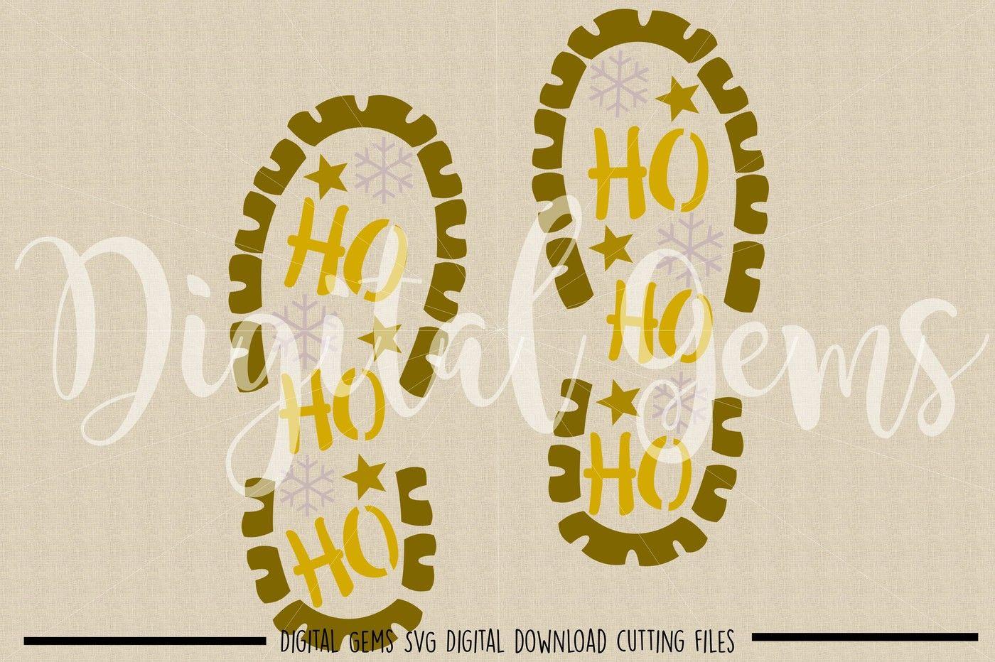 Santa Foot Print Svg Dxf Png Eps Files By Digital Gems
