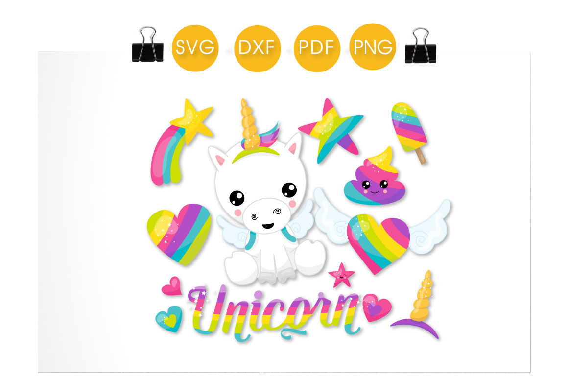 Rainbow Unicorn Svg Png Eps Dxf Cut File By Prettycuttables