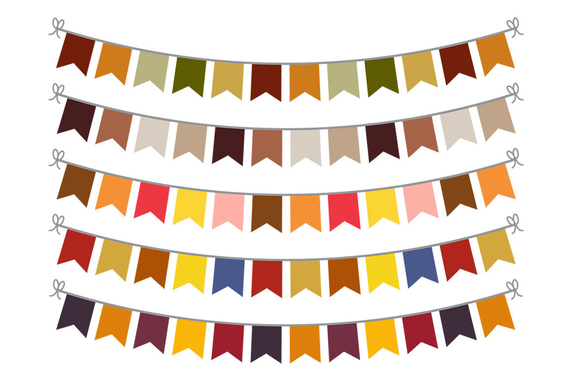 Fall Bunting Clipart Bunting Banner Clipart Autumn Bunting Svg