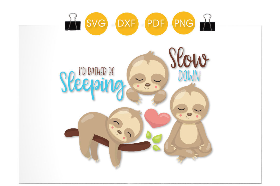 Sleeping Sloths Svg Png Eps Dxf Cut File By Prettycuttables Thehungryjpeg Com