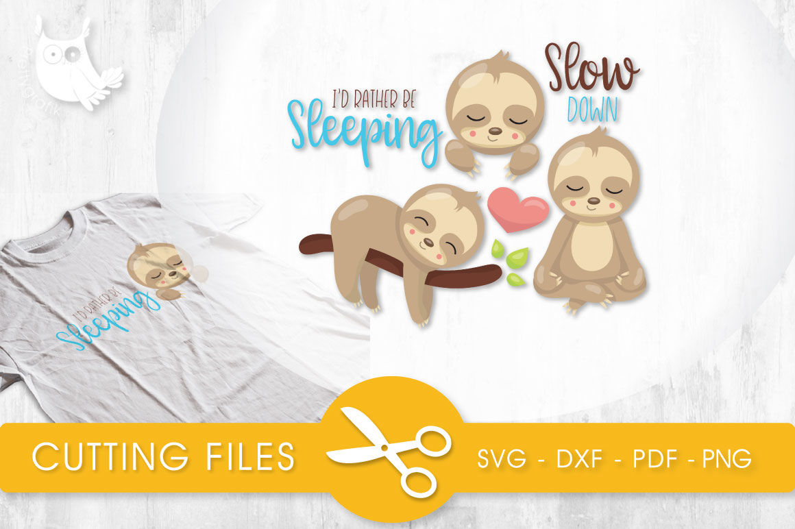 Sleeping Sloths Svg Png Eps Dxf Cut File By Prettycuttables