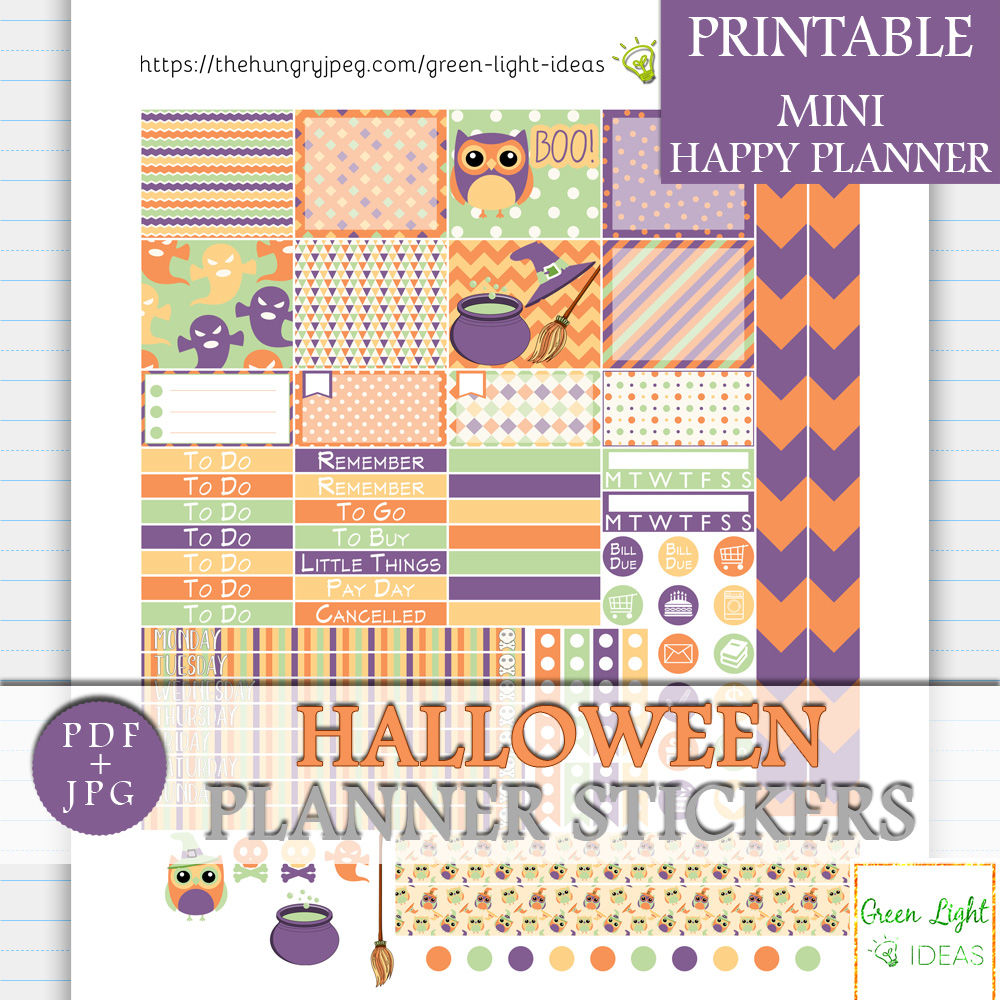 Halloween MINI Happy Planner Stickers By Green Light Ideas