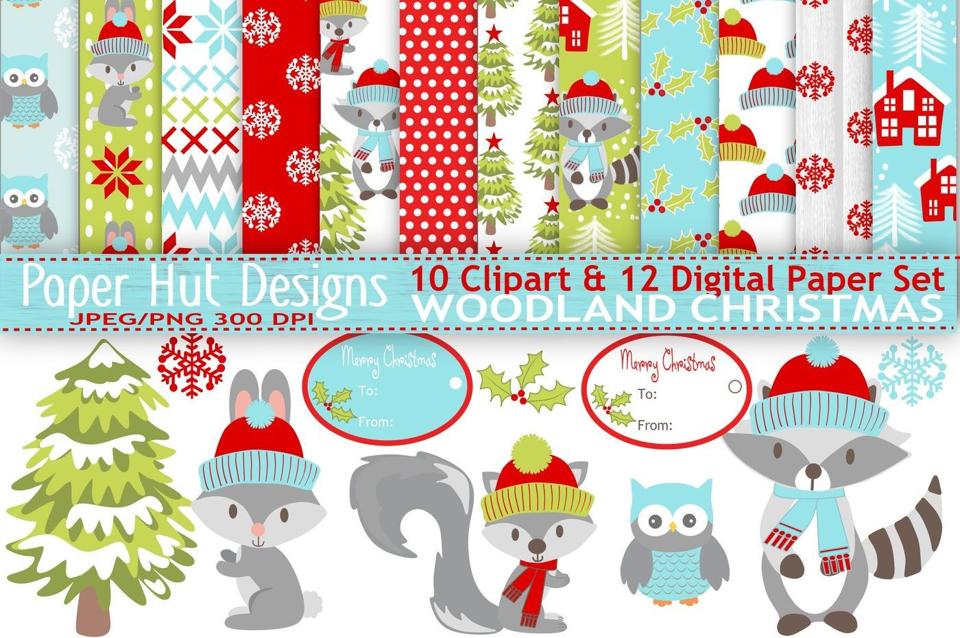 Christmas Animals Clipart And Digital Papers Set By