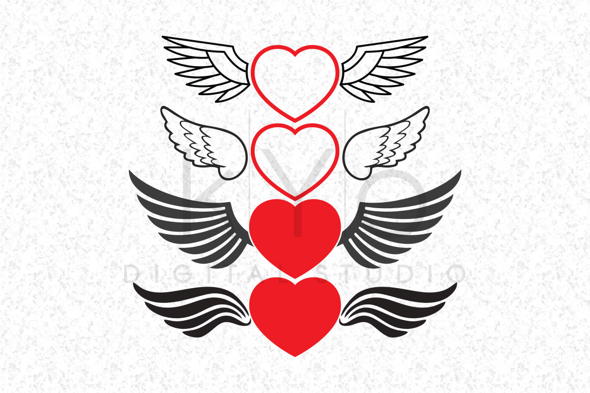 Love Heart With Wings Svg Files Valentines Day Svg Files For