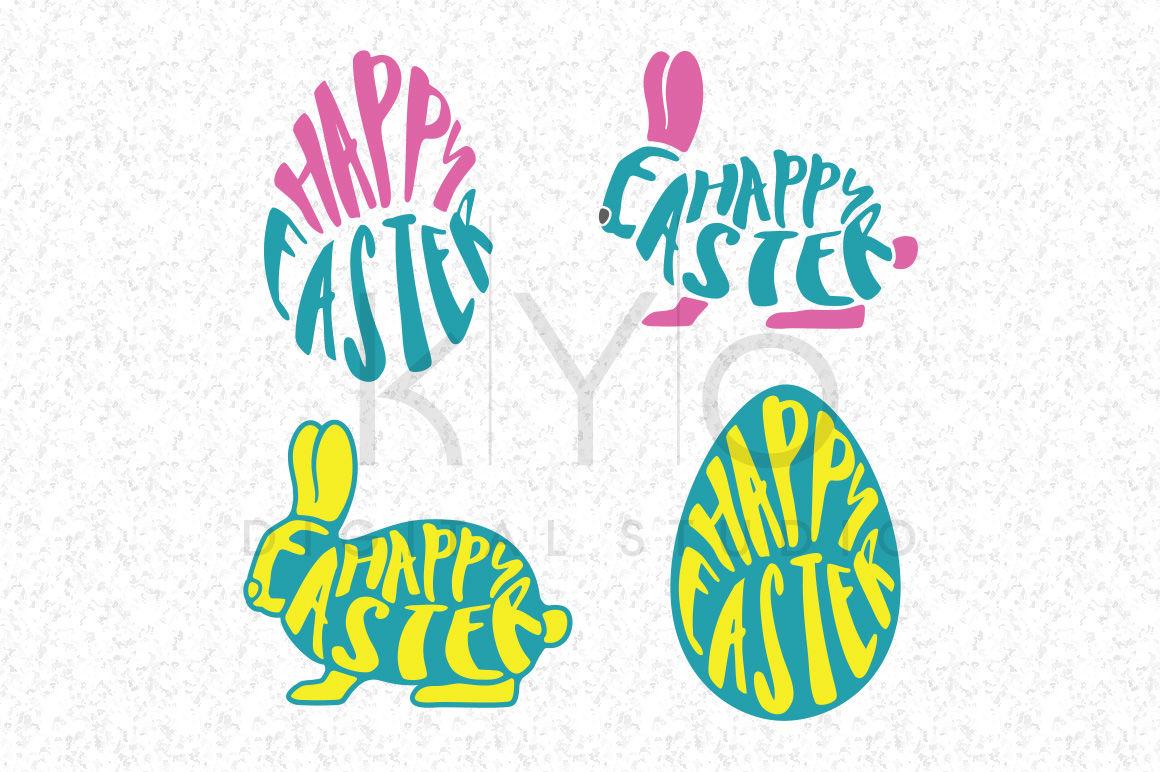 Happy Easter Bunny Rabbit Egg Shape Svg Dxf Png Eps Files For