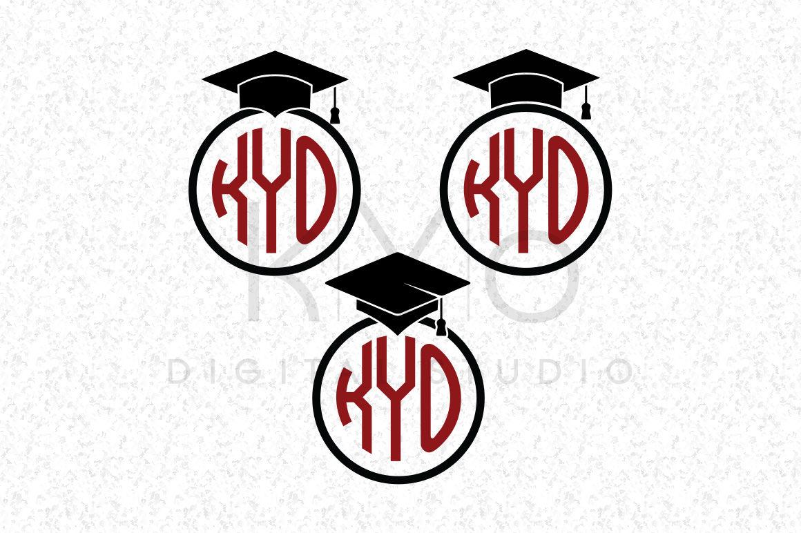 Graduation Svg Dxf Png Eps Files Mortarboard Monogram Frame By Kyo
