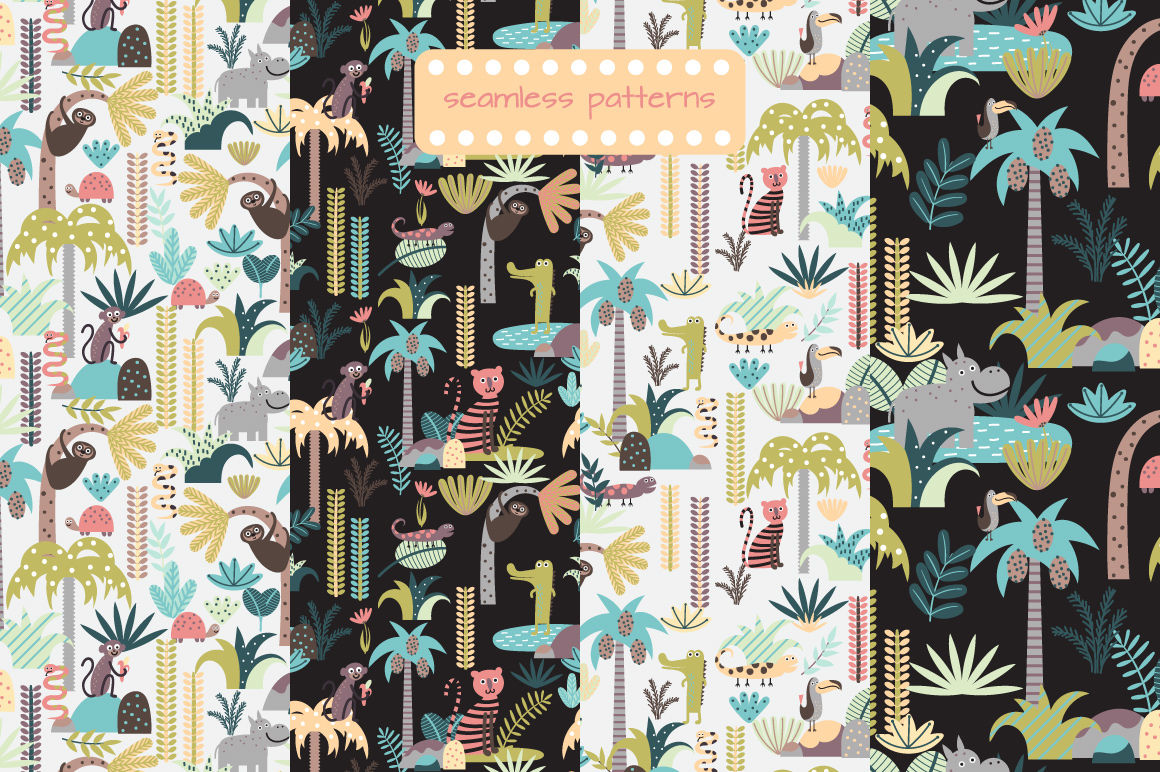 Childrens Set With Tropic Forest By Laeti M Thehungryjpeg Com
