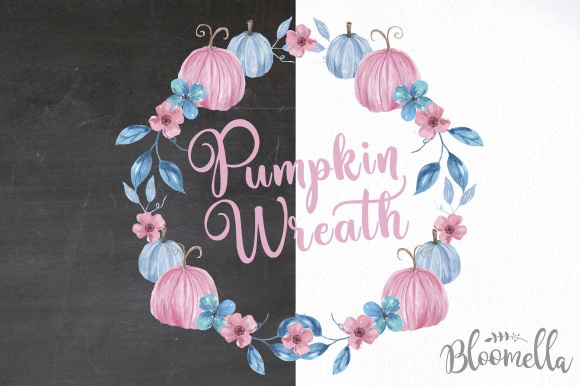 5 Watercolour Pumpkin Wreaths Pink Blue Purple Fall Autumn Garlands By Bloomella Thehungryjpeg Com