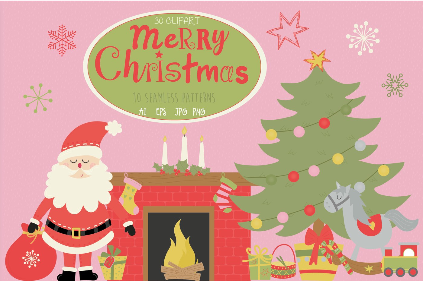 Merry Christmas Time Pack By Poppymoon Design Thehungryjpeg Com
