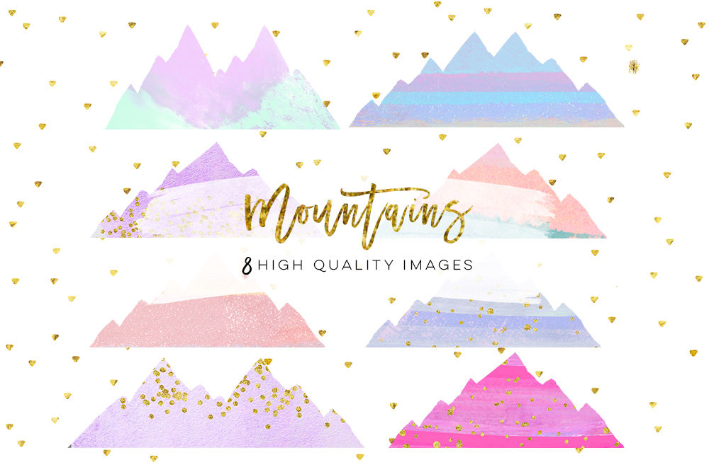 Mountain Clip Art Wedding Mountain Clipart Watercolor Mountain