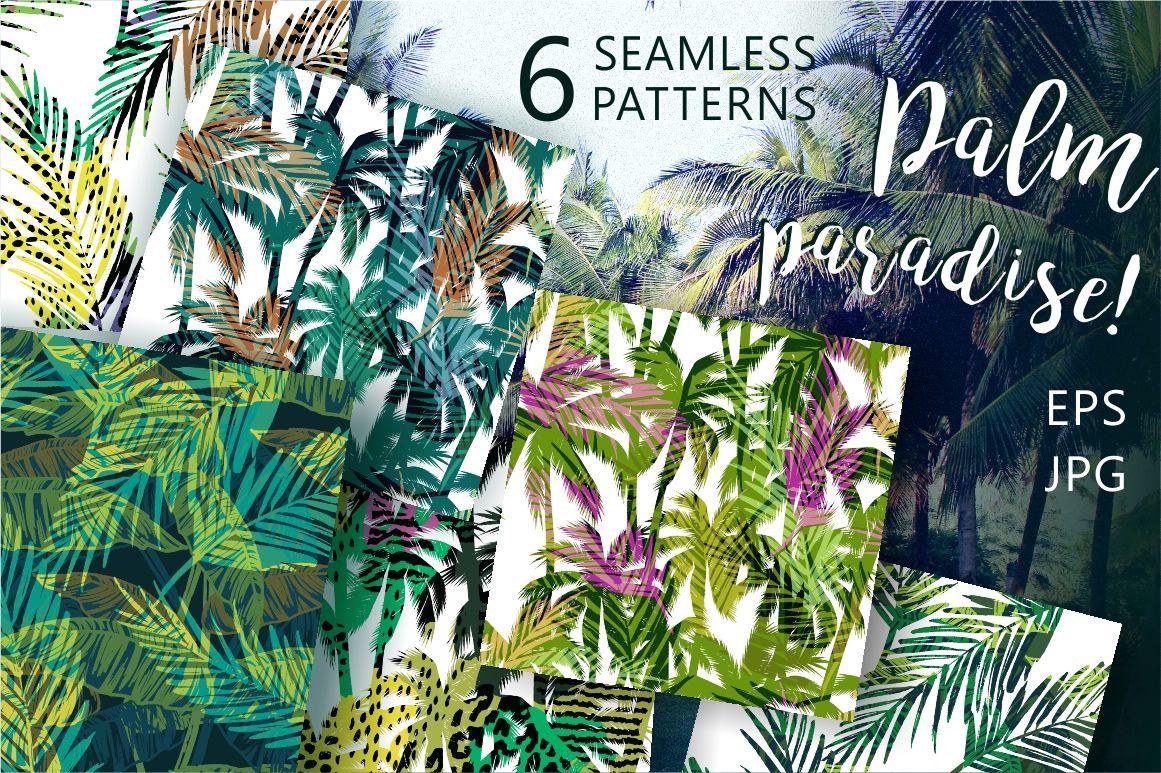 Palm Paradise 6 Seamless Patterns By Grape Studio Thehungryjpeg Com