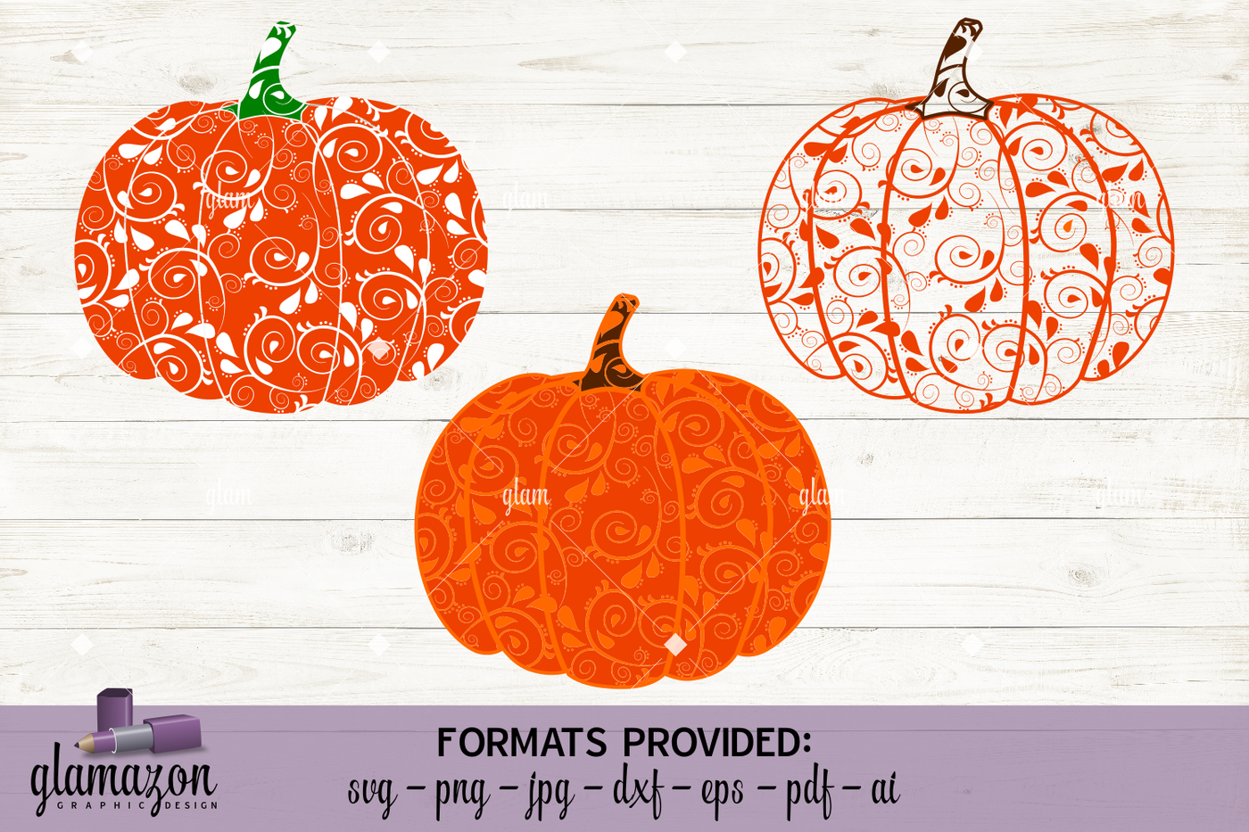 Paisley Pumpkin Svg Dxf Eps Png Pdf Jpg Ai Cutting File By
