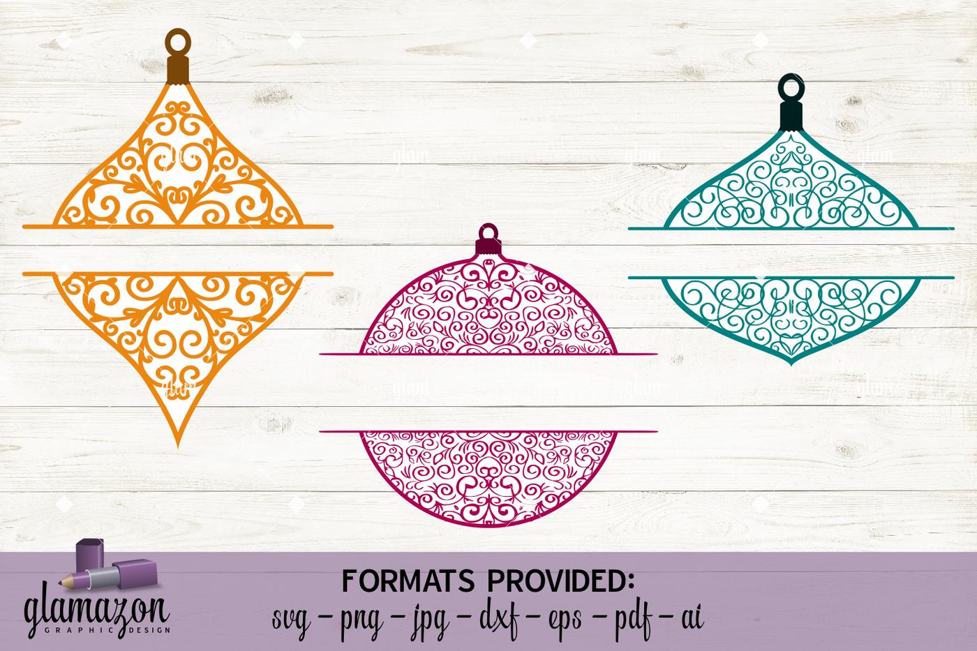 Monogram Christmas Ornaments Svg Dxf Eps Png Pdf Jpg Ai