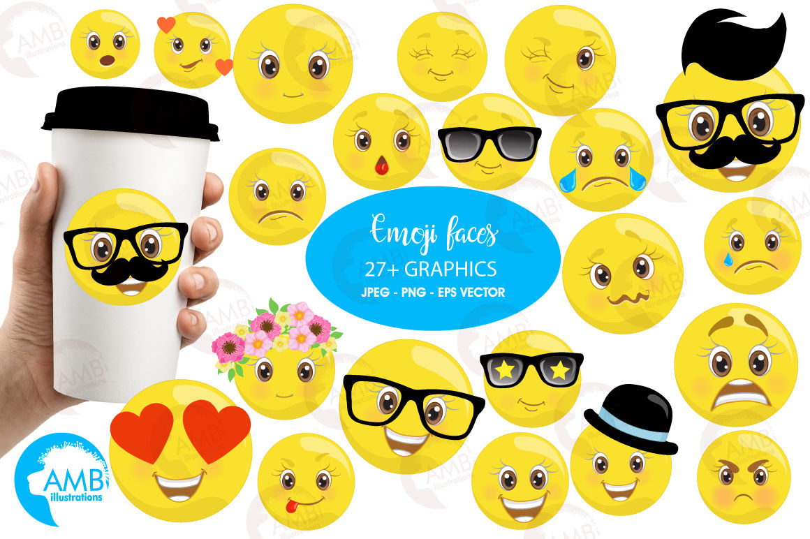 Emoji Faces Emoticons Clipart Graphics Illustrations Amb 2250 By